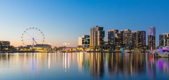 Panoramic image of the docklands waterfront area of Melbourne