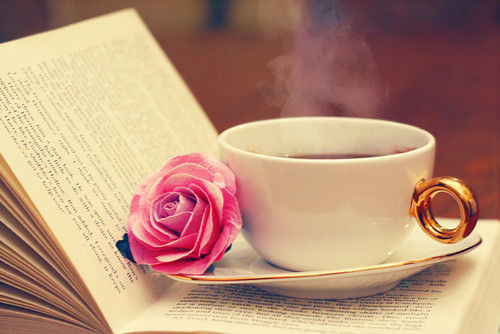 COFFEE AND BOOK AND FLOWER