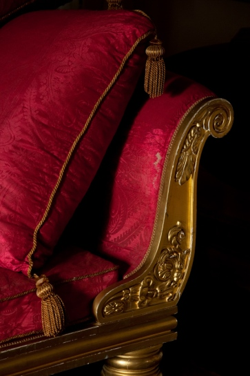 Detail of the sofa in the Drawing Room at Felbrigg Hall in Norfolk.